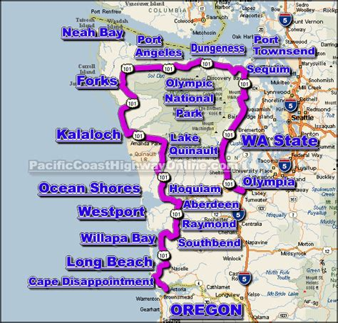 map of oregon and washington coast u s route 101 in washington