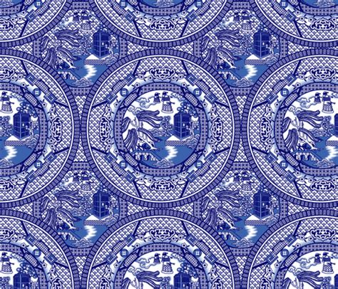 willow pattern wallpaper blue box willow fabric thirdhalfstudios spoonflower