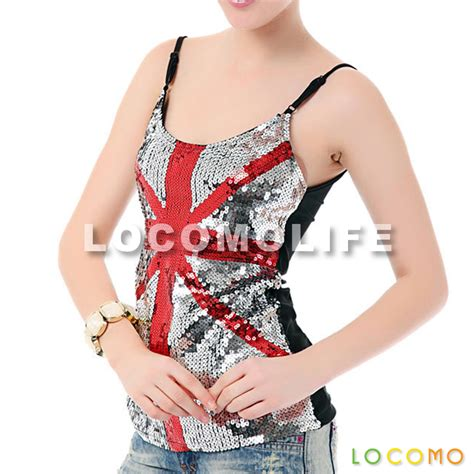 Glare Blouse uk union country flag sequin tank top silver ffk065uk us 16 99