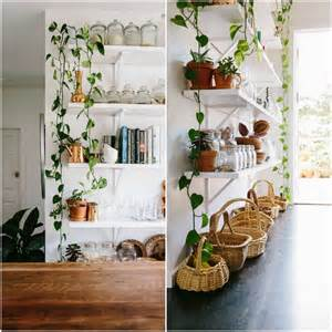 indoor plant shelves rustic bohemian family home subway tiles white kitchen