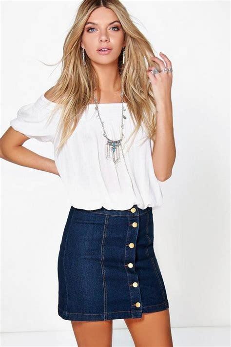 denim button front mini skirt boohoo