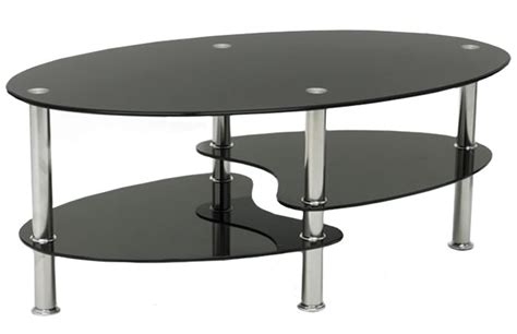 black glass coffee table oval chrome frame occasional or