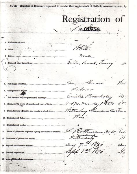 Wisconsin Vital Records Birth Certificate The David Craw Family Morris Twp Shawano Wisconsin