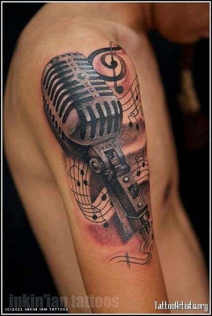 microphone tattoo with music notes old school backgrounds and red background on pinterest