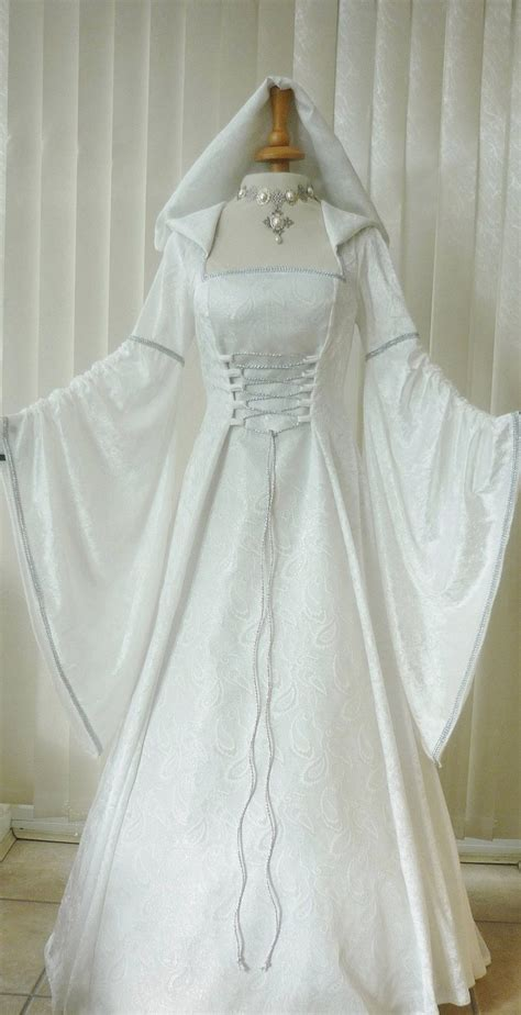 medieval pagan renaissance ivory silver hooded wedding