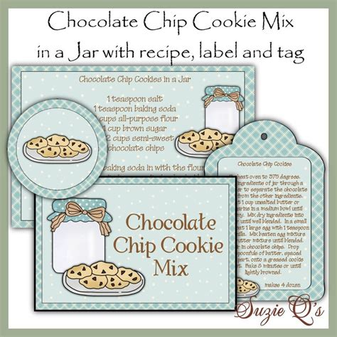 free printable cookie jar labels make your own chocolate chip cookie mix in a jar label
