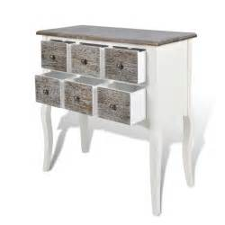 console cabinet console table with 6 drawers white wood