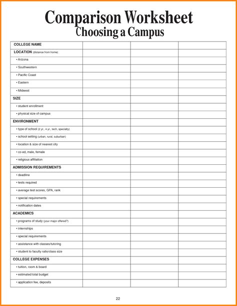college comparison spreadsheet  universities