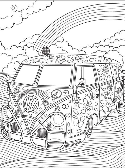 70s Coloring Page by 70 Best Hippie Peace Signs Coloring Pages For Adults