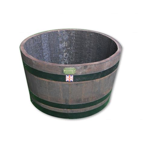 Small Whiskey Barrel Planter by Large Oak Whiskey Barrel Garden Planter Stained With Black Hoops