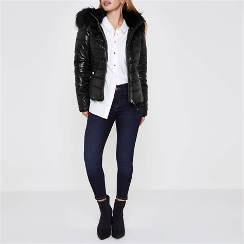 Hooded Puffer Jacket black look hooded puffer jacket coats