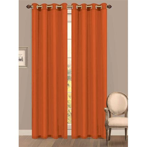 Orange Panel Curtains Window Elements Semi Opaque Primavera Crushed Microfiber 55 In W X 84 In L Grommet Wide
