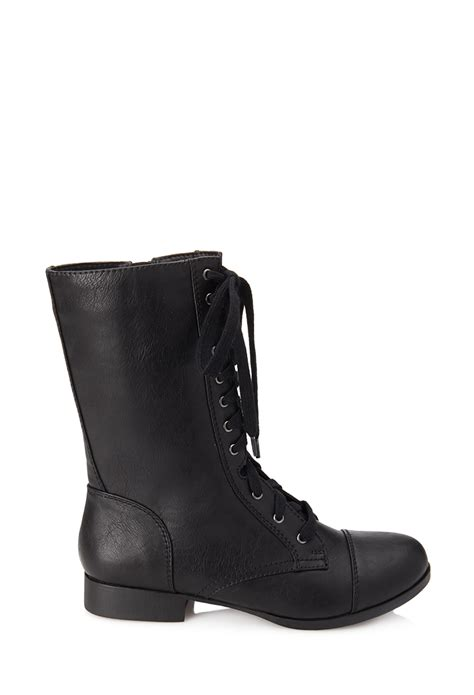 Forever 21 Leather Shoes lyst forever 21 faux leather lace up boots in black
