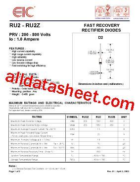 dioda ru2 ru2 fiche technique pdf eic discrete semiconductors