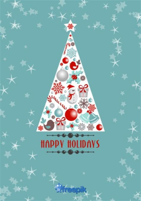 happy holidays greeting card of christmas tree with