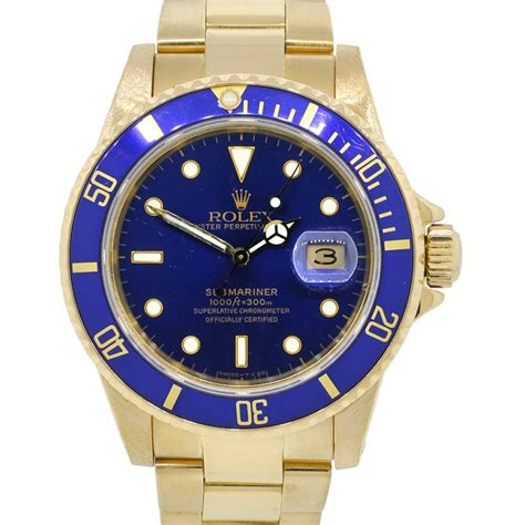 Rolex Chronometer Combi Gold Blue rolex 16808 submariner 18k yellow gold blue