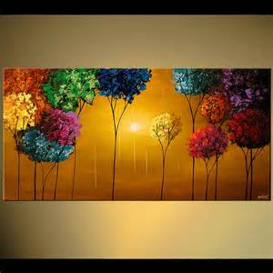 colored painters prints painting colorful blooming trees textured
