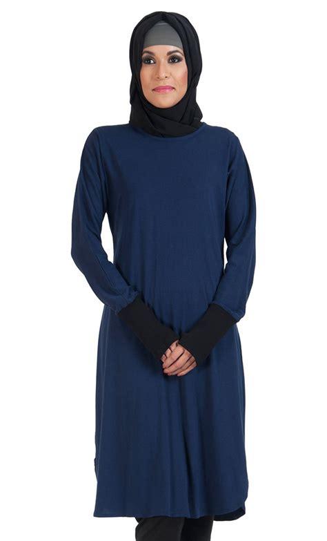 Batikasli Fashion Muslim Tunic Ayunda slip on color block cotton knit tunic navy
