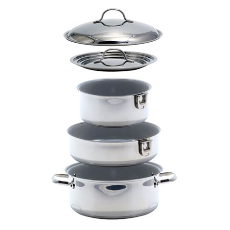 kuuma 7 ceramic nesting cookware set stainless steel with non stick coating induction