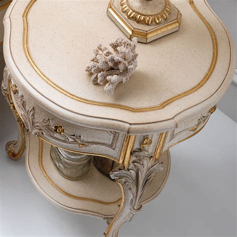 small gold table l ornate ivory and gold italian small round bedside table