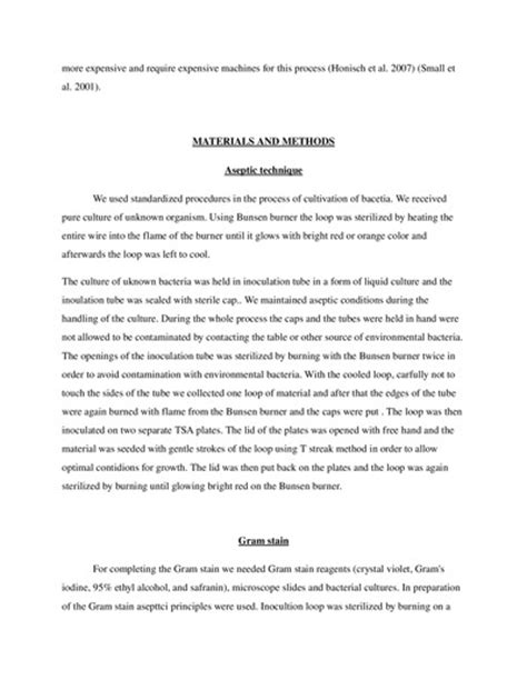 Writing Unknown Lab Report Microbiology by Isolation And Identification Of Unknown Bacteria Lab Report Exle Topics And Sles