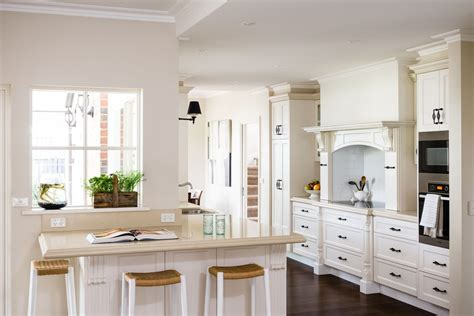 clean country style kitchen design in white theme with
