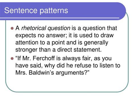 sentence pattern for questions ppt analysis of diction and syntax powerpoint