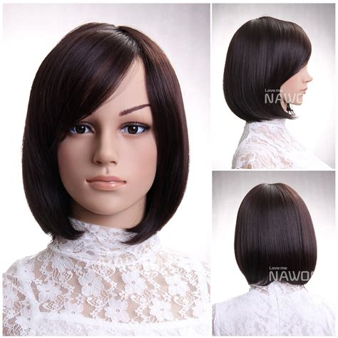 hairstyle with wigs with bangs for hot sale fashion chestnut side swept bangs neck length