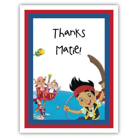 jake and the neverland thank you card template cake presents pplump