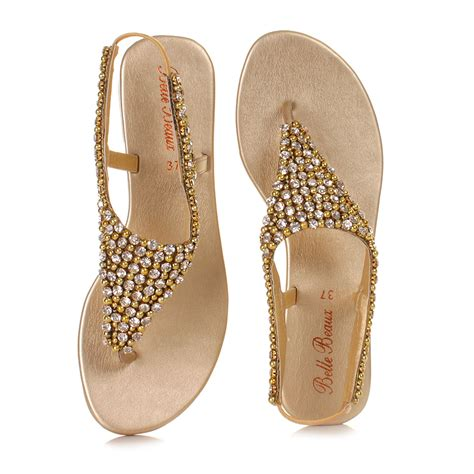 golden flat shoes womens gold diamante slingback shoes wedding prom