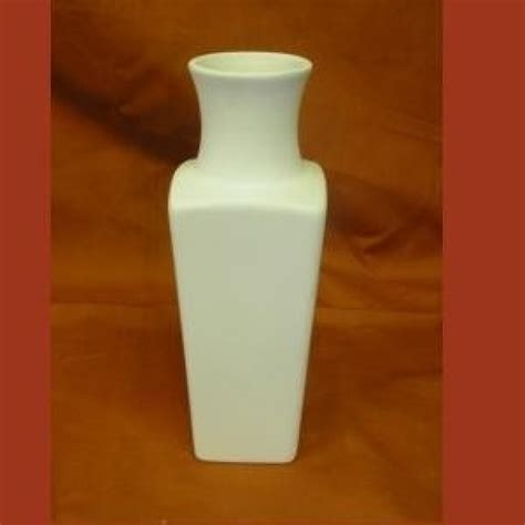 6 Square Vase by Ceramic Bisque Square Vase