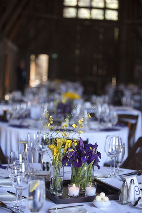 Purple & Yellow Wedding table centerpieces   Centerpieces