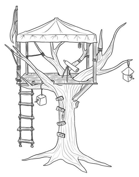 coloring page of a tree house tree house 25 buildings and architecture printable