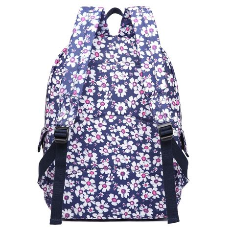 flower pattern backpacks e6609 miss lulu matte oilcloth flower pattern backpack blue