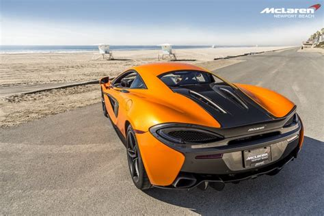orange mclaren rear orange mclaren 570s in newport beach rear angle