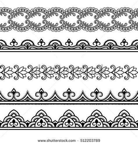 set seamless borders design application henna vectores en