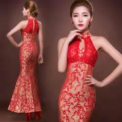 Golden dragon red brocade chinese mermaid bridal wedding dress