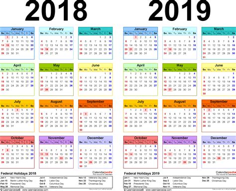 Calendar 2018 Including Holidays 2018 2019 Calendar Free Printable Two Year Excel Calendars