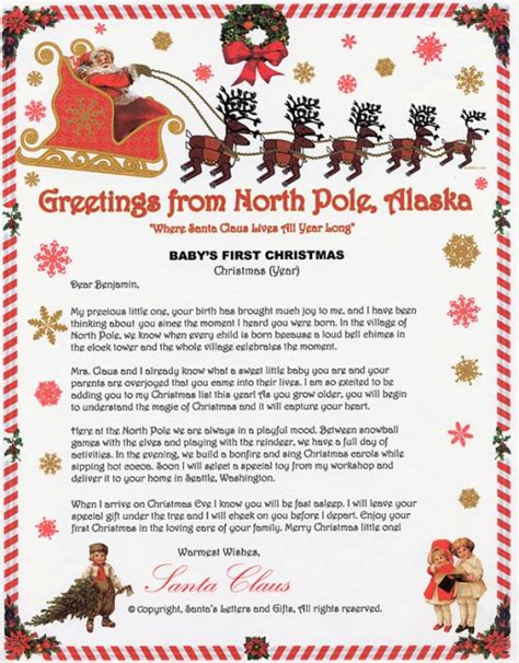 Free Printable Baby S First Letter From Santa | free printable santa letters hubpages