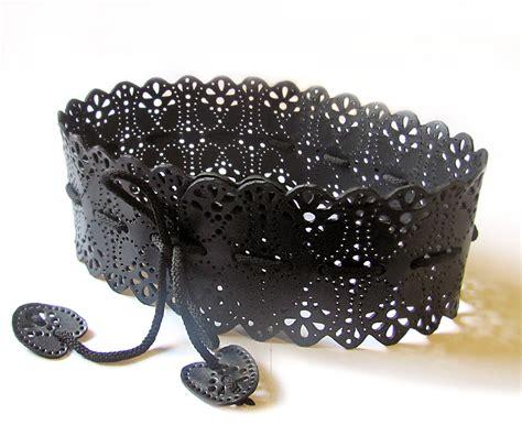 wide black leather belt black obi belt for womens by