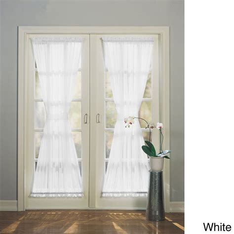 Sheer Patio Door Curtains No 918 Emily Sheer Voile Single Solid Colored Patio Door Curtain Panel White 72 Inch Size 72