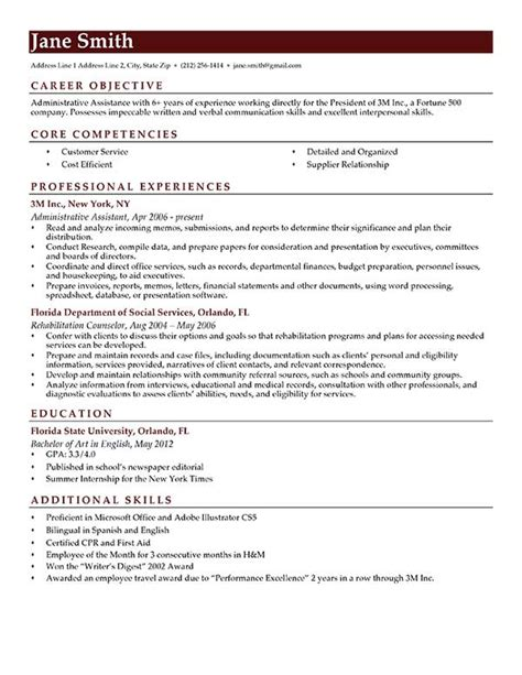resume format objective ideal examples of resume objectives free