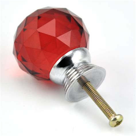 red crystal cabinet knobs 2pcs crystal glass door knobs cabinet furniture kitchen