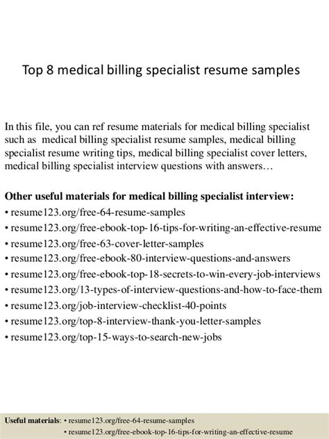 Billing Specialist Resume by Top 8 Billing Specialist Resume Sles