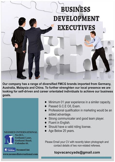 What Is The Minimum Experience Required For Executive Mba by Business Development Executive Vacancy In Sri Lanka