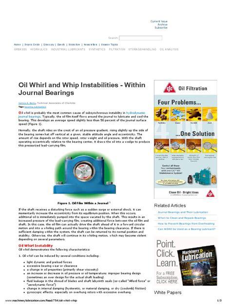 journal bearings oil whirl and oil whip oil whirl and whip instabilities within journal bearings pdf