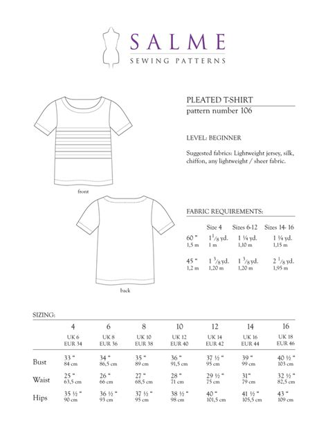 t shirt sewing template salme sewing patterns 106 pleated t shirt downloadable pattern
