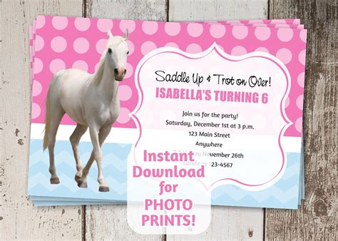 horse birthday party invitations printable or digital file horse birthday party invitation instant digital file