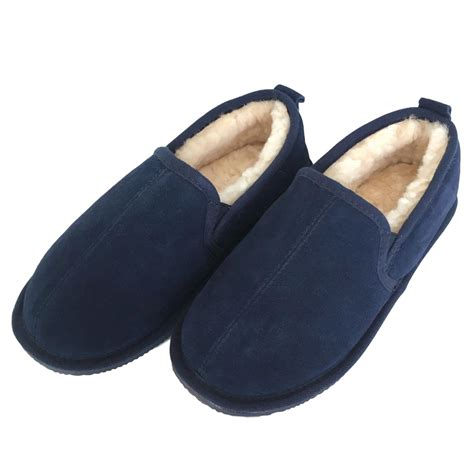 slipper and deluxe mens liam sheepskin slippers with sole navy