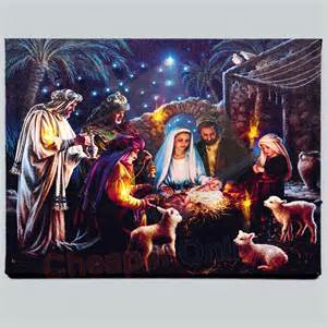40cm x 30cm premier nativity scene fibre optic wall canvas